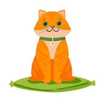 Chat mignon de gingembre avec un beau logo de collier pour une bannière d'hôtel de clinique vétérinaire de boutique wb publicité et cartes postales illustration vectorielle isolée sur illustration vectorielle fond blanc