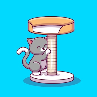 Chat mignon grattant le bois scratcher cartoon icon illustration. concept d'icône animale isolé. style de dessin animé plat