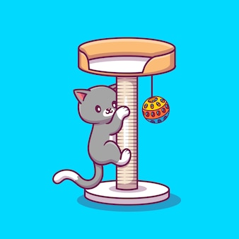 Chat mignon grimpant et jouant à l'illustration de l'icône de dessin animé de balle. concept d'icône animale isolé. style de dessin animé plat