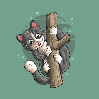 Un chat mignon grimpe sur un arbre illustration vectorielle style grunge