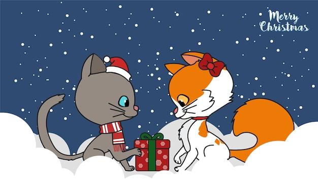 Chat mignon avec une illustration de cadeau de noël.