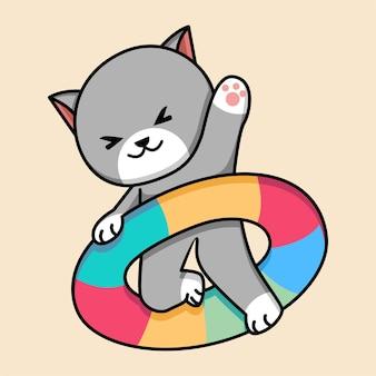 Chat mignon avec illustration de dessin animé de pneus de natation