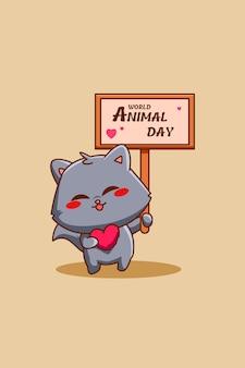 Chat mignon avec illustration de dessin animé pour le texte de la journée mondiale des animaux