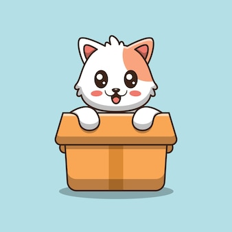 Chat mignon en illustration d'icône de boîte