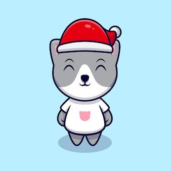 Chat mignon avec illustration d'icône de dessin animé de chapeau de noël. style de bande dessinée plat