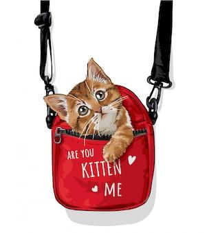 Chat mignon en illustration de sac de transport rouge