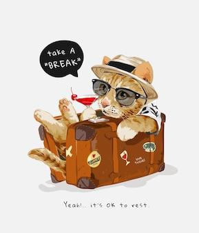 Chat mignon en illustration de valise vintage
