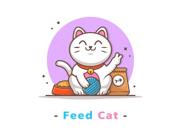 Chat mignon jouant au ballon avec de la nourriture pour chat