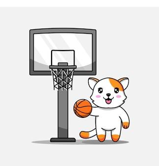 Chat mignon jouant au basket seul