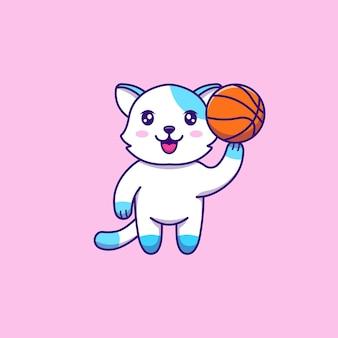 Chat mignon jouant au basket