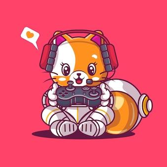 Chat mignon jouant au jeu avec la coutume d'astronaute