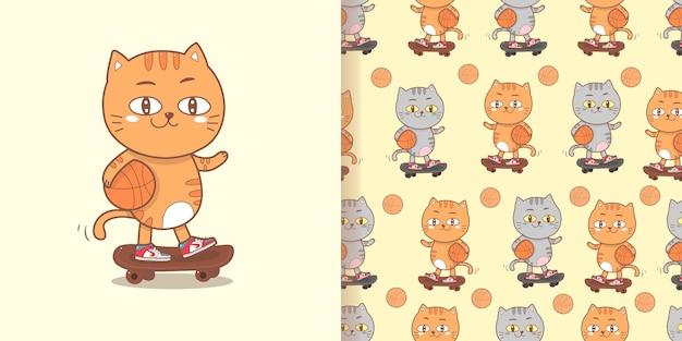 Chat mignon jouant de fond sans couture de dessin animé de planche à roulettes.