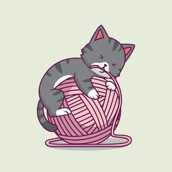 Chat mignon jouant illustration de dessin animé de boule de fil