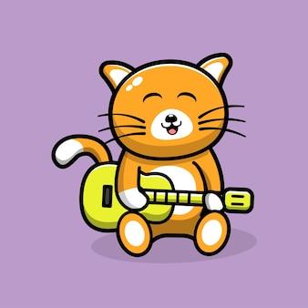 Chat mignon jouant illustration de dessin animé de guitare