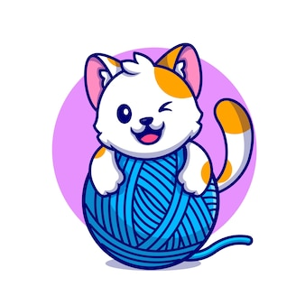 Chat mignon jouant illustration d'icône de dessin animé de boule de fil.