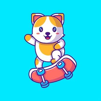 Chat mignon jouant à l'illustration de vecteur de dessin animé de planche à roulettes. concept de style de dessin animé plat animal