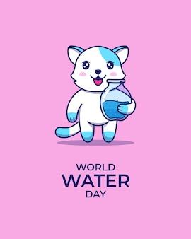 Chat mignon le jour de la journée mondiale de l'eau