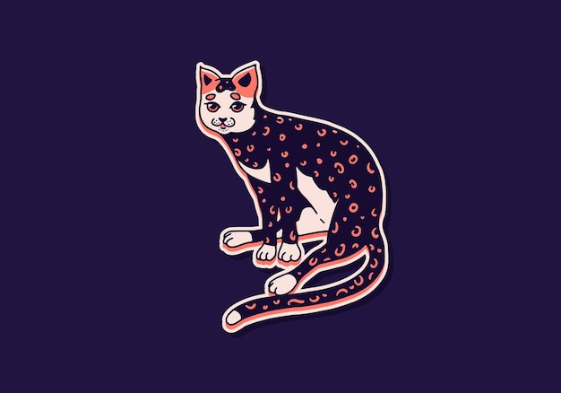 Chat mignon lavant jouant animal mignon couleur chat domestique croquis gravé dessinés à la main pour bannière ou