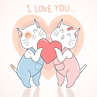 Chat mignon love valentine jour