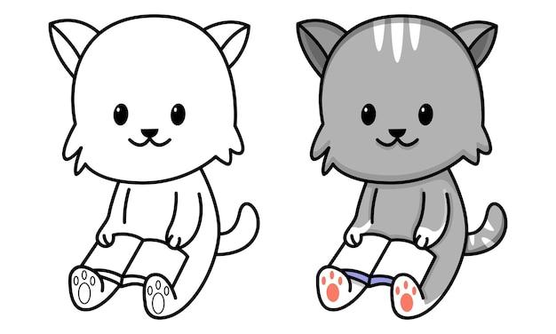 Chat mignon a lu une page de coloriage de livre pour des enfants