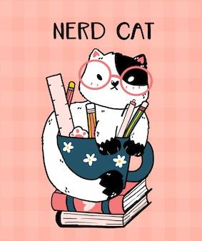 Chat mignon avec des lunettes assis dans une tasse de crayon sur le livre, illustration de dessin animé de chat