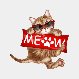 Chat mignon à lunettes de soleil miaulement.