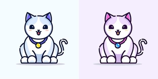 Chat mignon mangeant avec une cloche autour du cou. illustration d & # 39; icône de dessin animé