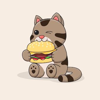 Chat mignon mangeant un hamburger et un clin de œil