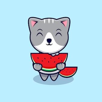 Chat mignon mangeant illustration d'icône de dessin animé de pastèque. style de bande dessinée plat