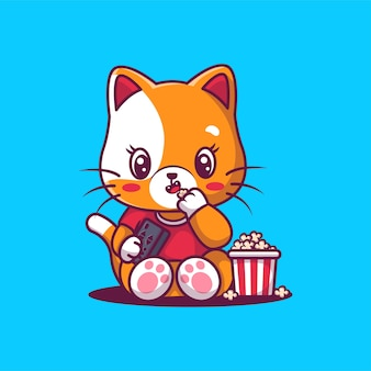 Chat mignon mangeant une illustration de pop-corn.