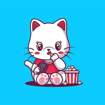 Chat mignon mangeant une illustration de pop-corn.