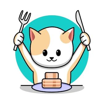 Chat mignon manger illustration de dessin animé de gâteau