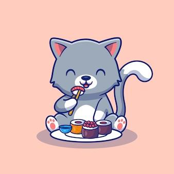 Chat mignon manger sushi cartoon illustration.