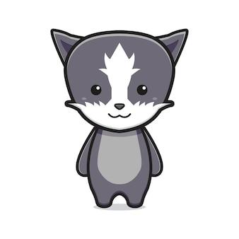 Chat mignon mascotte dessin animé icône illustration vectorielle. concevoir un style cartoon plat isolé