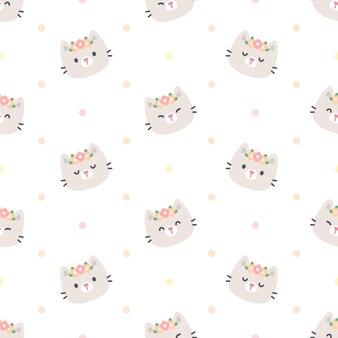 Chat mignon avec modèle sans couture de couronne de fleurs
