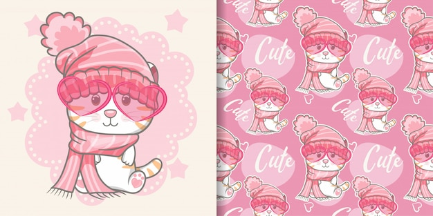 Chat mignon avec motif sans couture rose