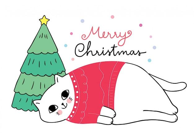 Chat mignon de noël de bande dessinée portant le chandail rouge dormant.