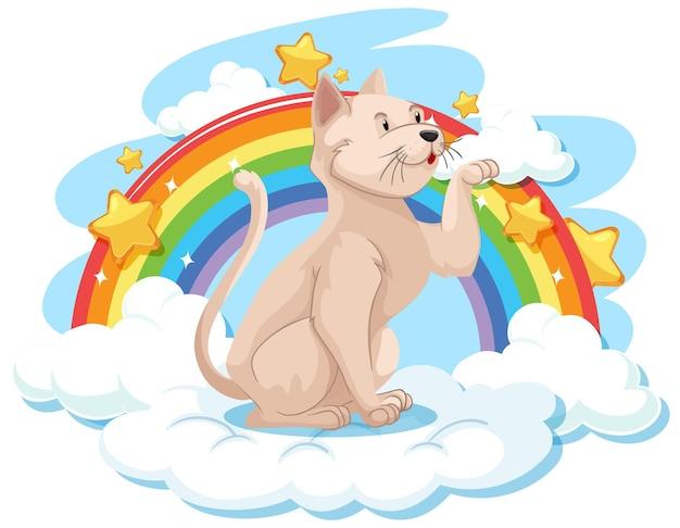 Chat mignon sur le nuage avec arc-en-ciel
