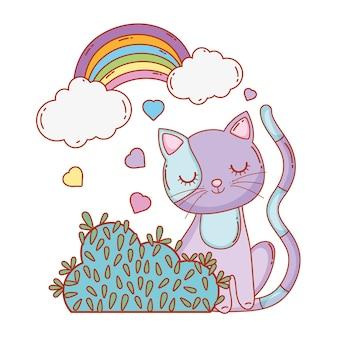 Chat mignon avec nuages arc-en-ciel et buisson
