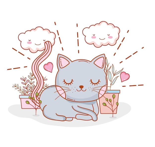 Chat mignon avec des nuages et des coeurs kawaii