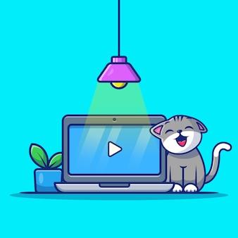 Chat mignon avec ordinateur portable et plante cartoon illustration.
