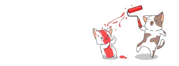 Chat mignon peint illustration