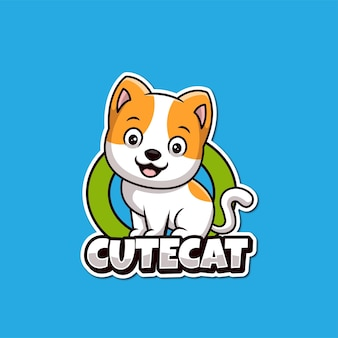 Chat mignon pet care boutique dessin animé création logo créatif