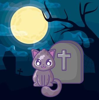 Chat mignon avec pierre tombale de cimetière sur la scène d'halloween