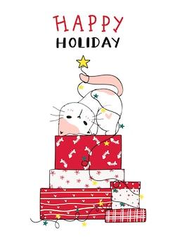 Chat mignon sur pile de noël rouge présent boîte doodle dessin animé clipart, joyeuses fêtes, carte de voeux.