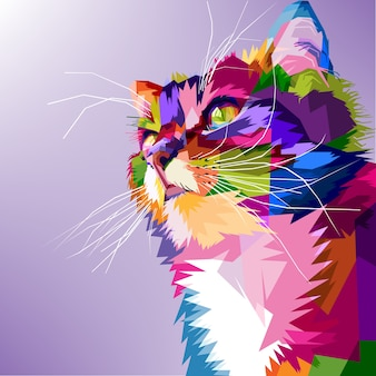 Chat mignon pop art coloré