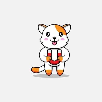 Chat mignon portant un aimant