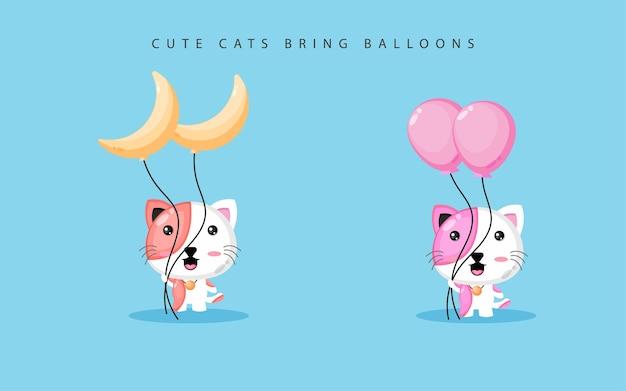 Chat mignon portant des ballons