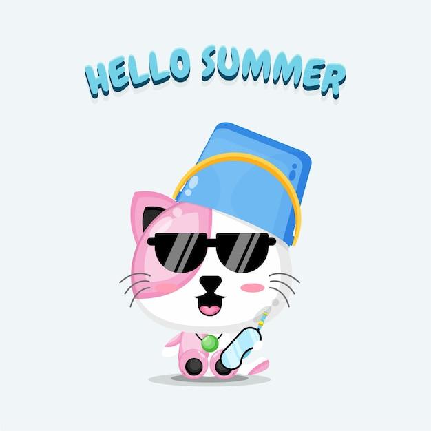 Chat mignon portant un chapeau de seau avec des salutations d'été