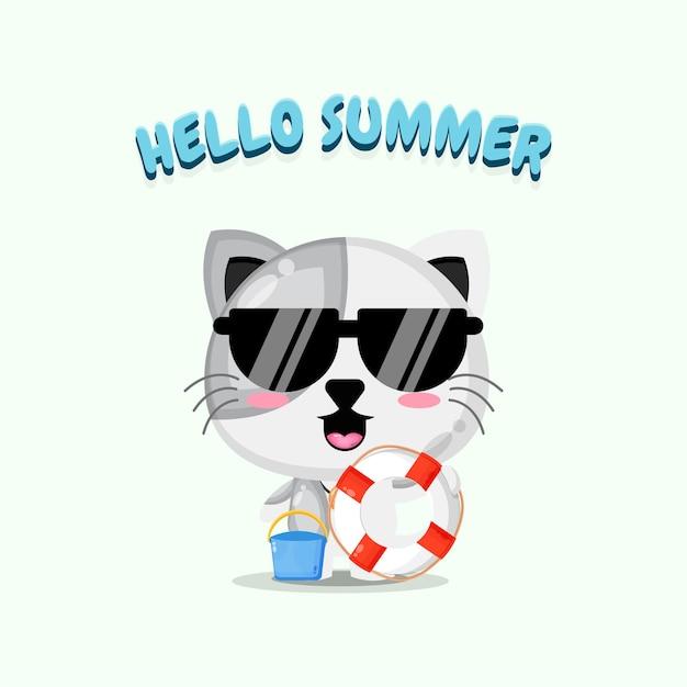 Chat mignon portant un char avec des salutations d'été